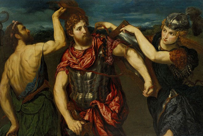 Персей, вооружаемый Меркурием и Минервой. Парис Бордоне, 1545 - 1555