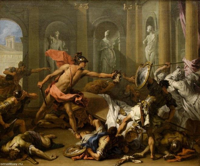 Персей обращает Финея в камень. Риччи Себастьяно, 1705-1710