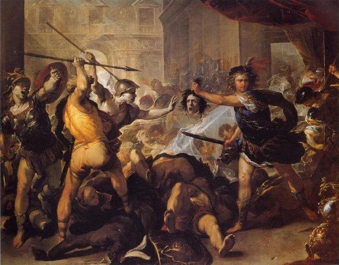 Персей превращает Финея и его спутников в камень. Лука Джордано, 1680
