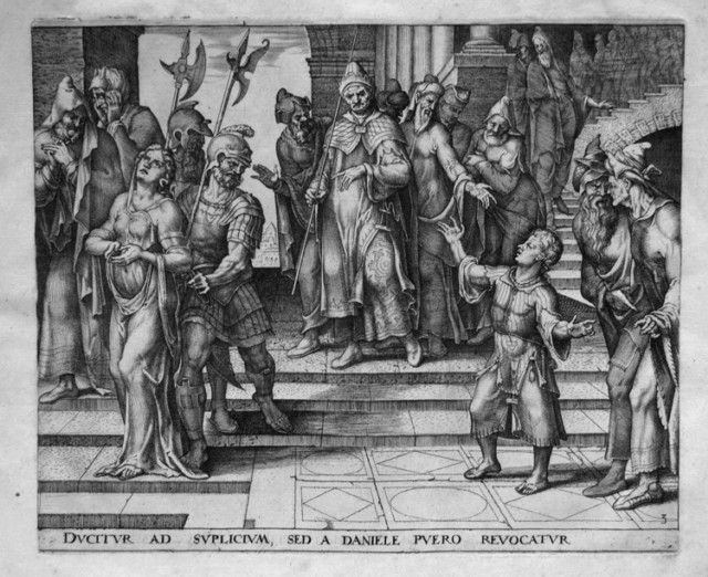 Даниил выступает в защиту Сусанны. Филиппс Галле, гравюра, 1563