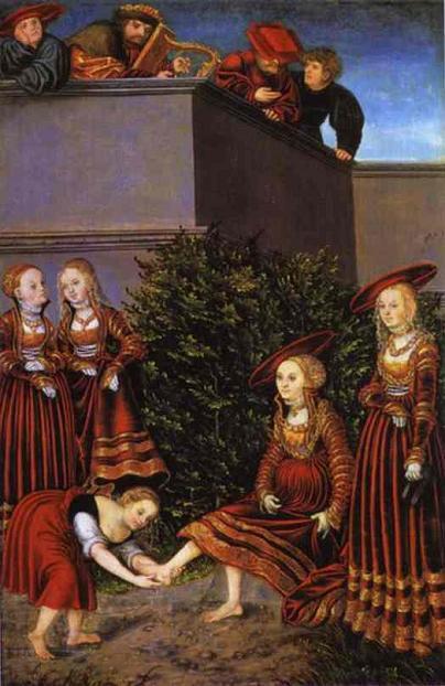"""Лукас Кранах Старший, """"Вирсавия и Давид"""", 1525 г."""
