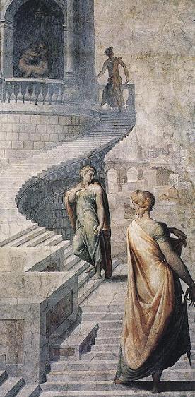 """Чеччино дель Сальвиатти, """"Вирсавия и царь Давид"""" (фреска) 1552-54 г.г."""