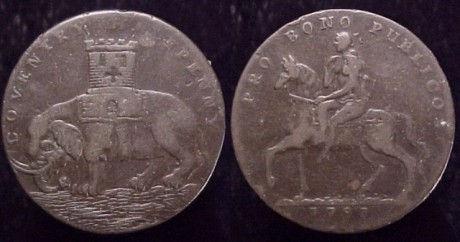 Монета Ковентри (полупенни) с изображением леди Годивы. 1793