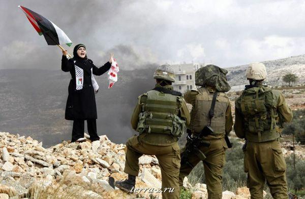 Палестинка перед израильскими солдатами. Акция протеста в поселке Билин около Рамаллы против боевых действий Израиля в Газе. (8 января 2009 года)REUTERS/Eric Gaillard