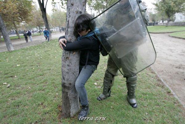 Полицейский из штурмового отряда арестовывает студента, участвовавшего в акции за изменения в системе общественного образования, в Сантьяго (13 мая 2009 года). REUTERS/Victor Ruiz Caballero