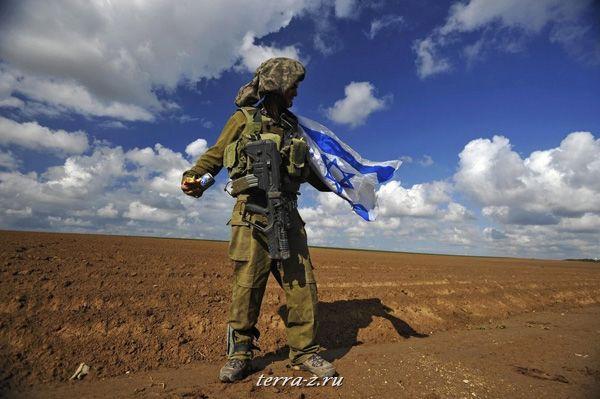 Израильский солдат держит национальный флаг после возвращения в Израиль из Сектора Газа 18 января 2009. REUTERS/Amir Cohen