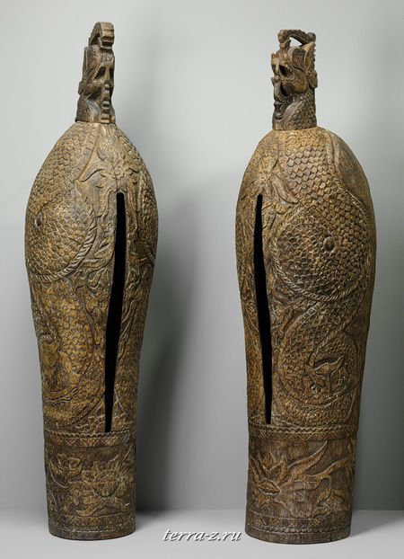 Pair of Slit Gongs, late 19th–early 20th century. Indonesia, Madura Island. Wood