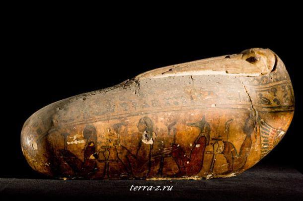 Мумия ибиса, в оболочке из льна и гипса с красочным покрытием