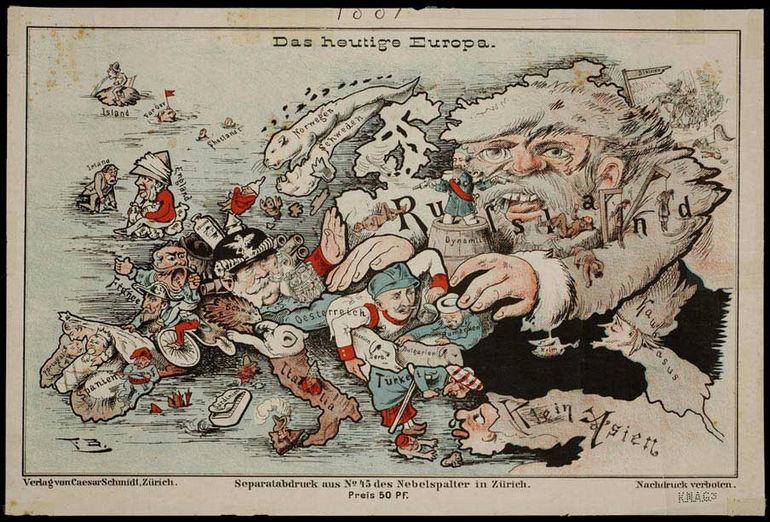 Юмористически-сатирические карты Европы начала ХХ века