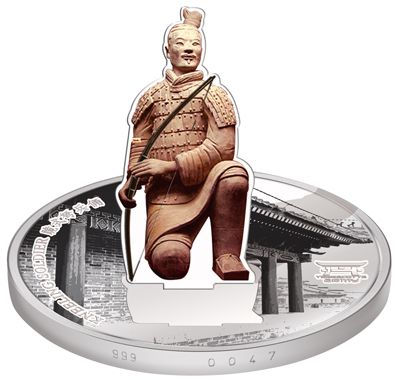 Laos - 2009 - 1000 Kip - Terra Cotta Army 3D Coin KNEELING SOLDIER