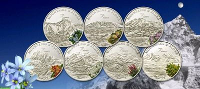 Palau - 2010 - 7 x 5 Dollars - Flora & Mountains 7-COIN-SET Seven Summits