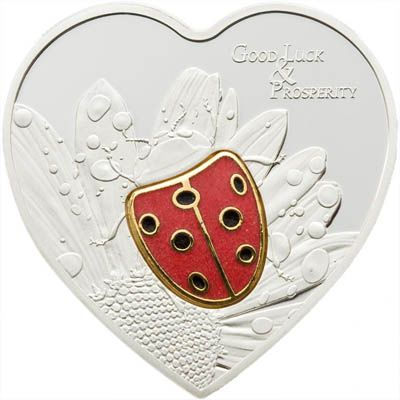 Palau - 2009 - 5 Dollars - Lady Bug in Cloisonné Heart Shaped