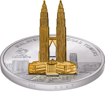 Cook Islands - 2008 - 10 Dollars - Sculpture Petronas Towers