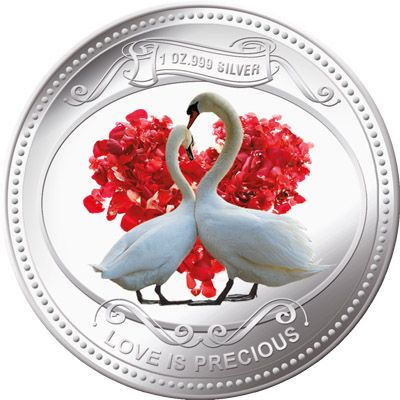Niue - 2010 - 2 Dollars - Love is Precious Swans