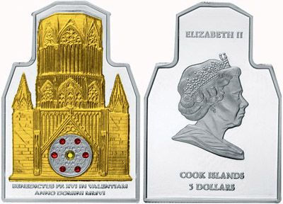 Cook Islands - 2006 - 5 Dollars - Pope visit in Valenzia with Swarovski Crystals