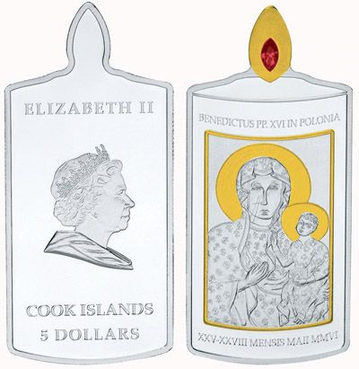 Cook Islands - 2006 - 5 Dollars - Pope Benedict in Polen Candle Silver