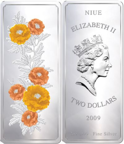 Niue - 2009 - 2 Dollars - Feng Shui Blossoming Peonies