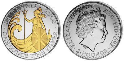 United Kingdom - 2008 - 2 Pounds - Britannia GILDED