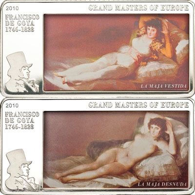 Cook Islands - 2010 - 20 Dollars - F. de Goya Clothed & Nude Maja