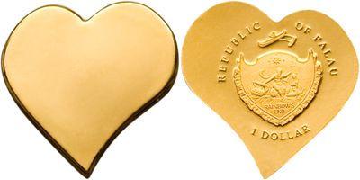 Palau - 2008 - 1 Dollar - Heart Gold Coin
