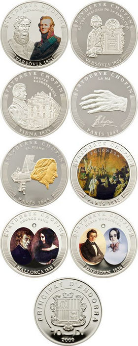 Andorra - 2009 - 8 x 10 Dinars - Frederic Chopin Anniversary Coin Collection