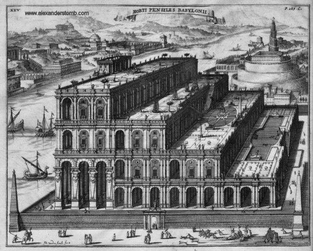 Висячие сады Семирамиды, реконструкция Athanasius Kircher, 1679