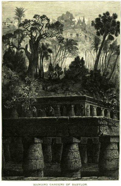 Висячие сады Семирамиды, реконструкция по древним описаниям, опубликовано в 1878