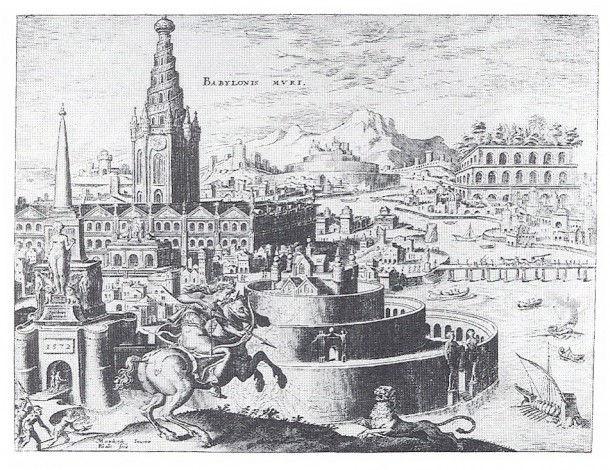 Висячие сады Семирамиды, реконструкция Maarten van Heemskerck (1498-1574)