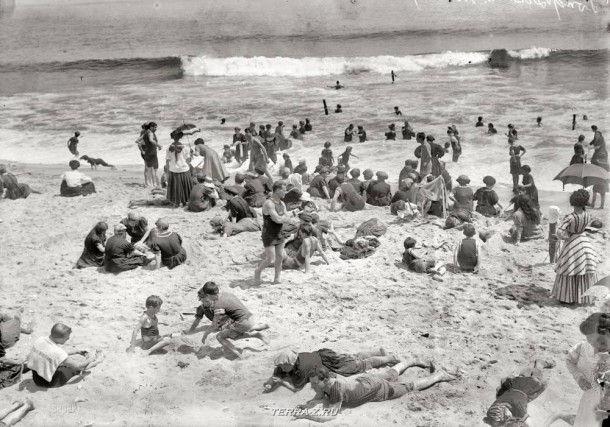 """Нью-Джерси, около 1910 года. """"Пляж Лонг-Бранч"""""""
