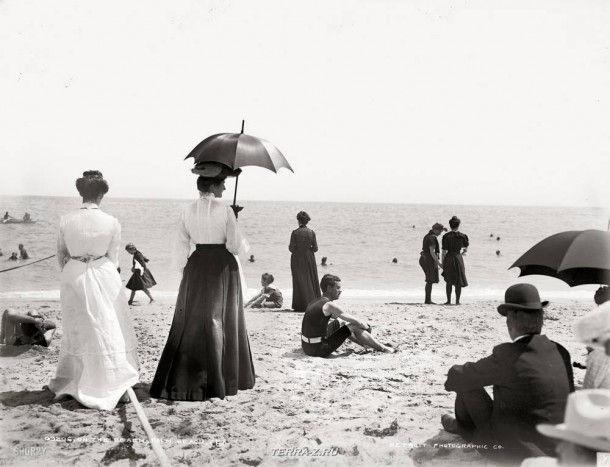 "Флорида около 1905 года. ""На пляже, Палм-Бич"""
