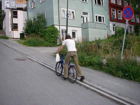 Трамп – единственный в мире велосипедный лифт (Тронхейм, Норвегия)