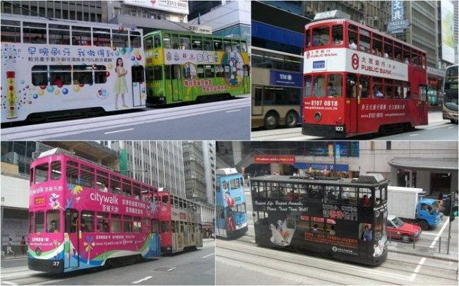 Двухэтажные трамваи - символ Гонконга