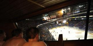 Баня на трибунах Hartwall Arena (Хельсинки, Финляндия)