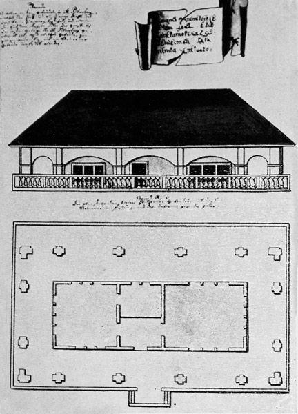 Галерея домика, план Домика и галереи. Чертежи из коллекции Берхгольца. Начало XVIII в.
