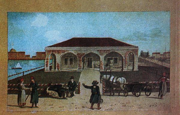 Домик Петра I на Петербургской стороне. Цветная литография Медландта по рисунку Кэра. 1805 г.