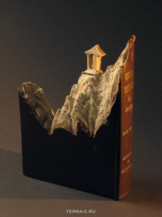 Пейзажи, вырезанные из книг от Гай Ларами (Guy Laramee)