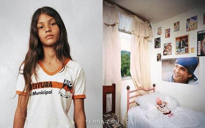 Таи, 11, живет с родителями и сестрой на третьем этаже многоквартирного дома в Рио-де-Жанейро, Бразилия