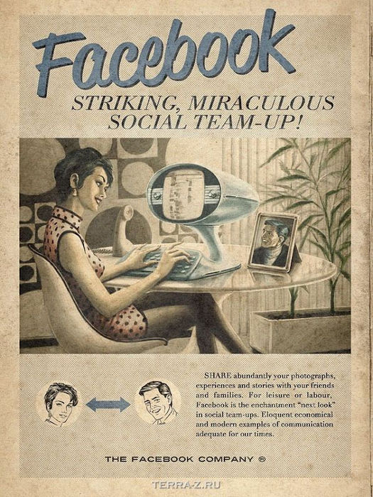 Реклама интернет-сервисов в винтажном стиле