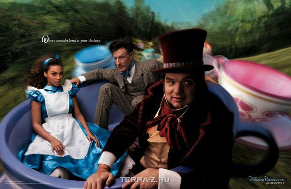 Beyonce as Alice, Oliver Platt as the Mad Hatter and Lyle Lovett as the March Hare