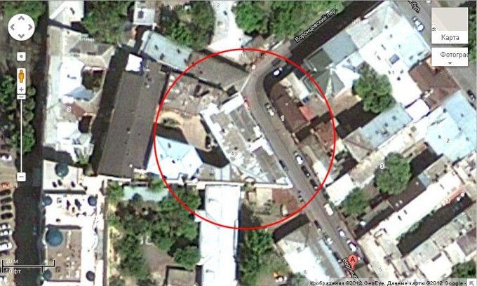 Плоский дом в Одессе (Украина) на Google Maps