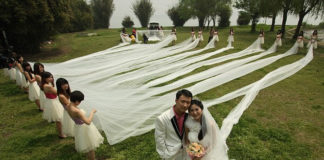 Свадебное платье со шлейфом в 520 метров (Китай)