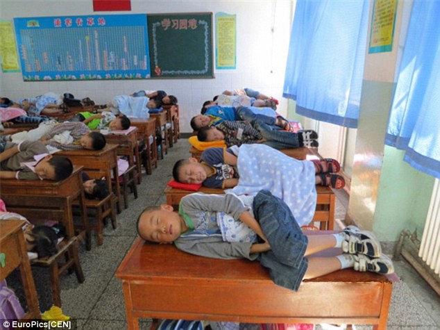 Полуденный сон на партах (Китай)