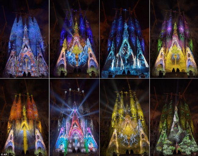 Световое шоу на фасаде Базилики Святого Семейства (Испания)