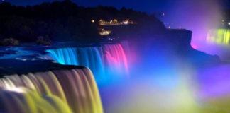 Ночная Ниагара: акварель, написанная природой (Канада)