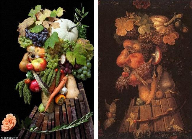 Портреты Арчимбольдо из реальных овощей и фруктов