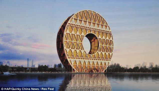 Dajinhuan: счастливое здание в форме монеты (Китай)