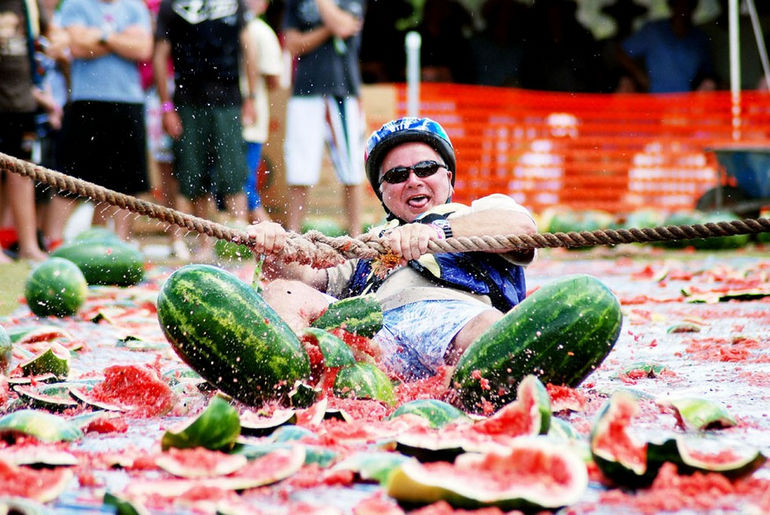 Young and old could not keep off the slippery slopes of melon skiing.