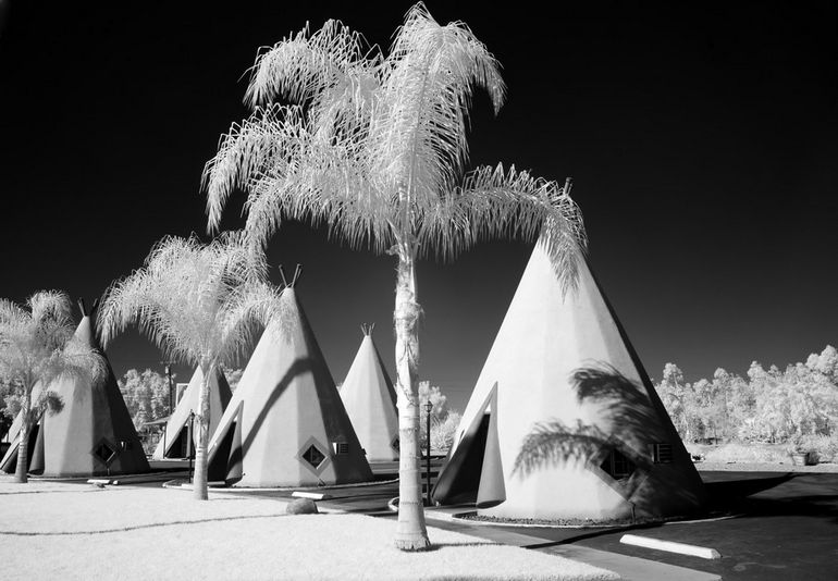 Infrared view of the Wigwam Motel on Route 66 in Rialto, California