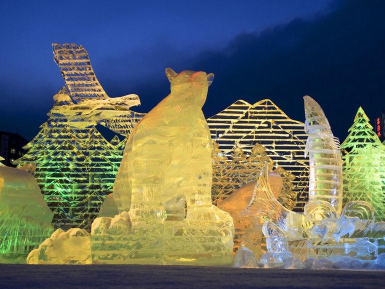 Illuminated-Ice-Sculptures-Sapporo-Snow-Festival-Hokkaido-Island-Japan