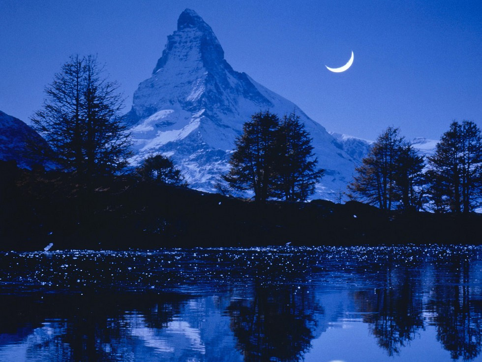 Matterhorn, Switzerland, at night